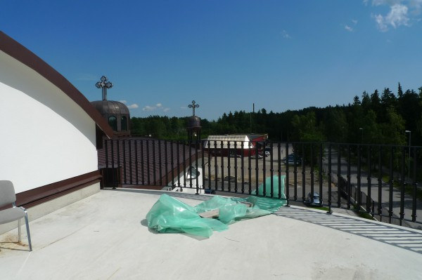 Rooftop of St. Jacob's Syriac Orthodox Cathedral during contruction, with a view toward the Assyrian Cultural Center. Södertälje, 2009. Photo by Jennifer Mack